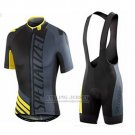 Men's Specialized RBX Sport Cycling Jersey Bib Short 2016 Dark Grey Yellow