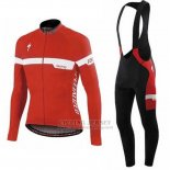 Men's Specialized SL Expert Cycling Jersey Long Sleeve Bib Tight 2016 Red White