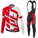 Men's Specialized RBX Comp Cycling Jersey Long Sleeve Bib Tight 2016 White Red