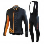 Men's Specialized RBX Sport Cycling Jersey Long Sleeve Bib Tight 2016 Black Orange