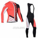 Men's Specialized RBX Sport Cycling Jersey Long Sleeve Bib Tight 2016 Black Red